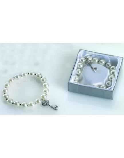 Pulsera perlas colgante llave