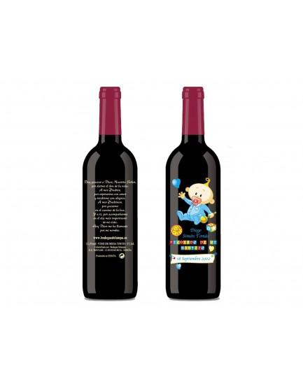 Botellas De Vino Para Regalar En Bautizos.Botella De Vino Personalizada