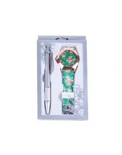 Estuche bolígrafo y reloj floral