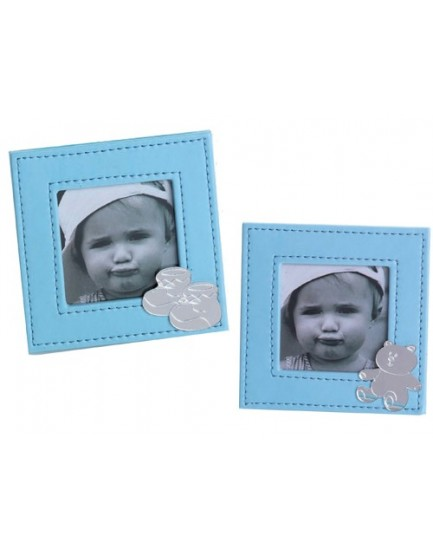 Portafotos polipiel azul