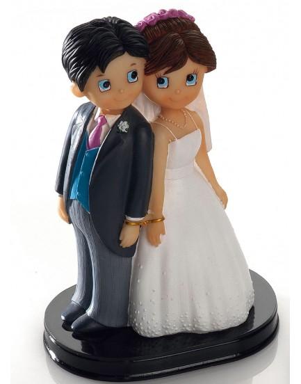 Figura pareja de novios esposados