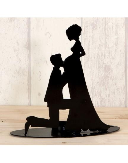 Figura/portavela silueta novia embarazada