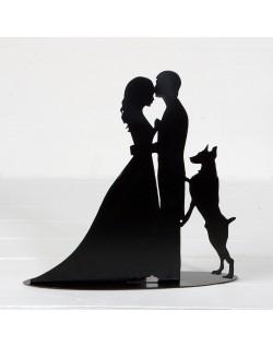Figura/portavela silueta novios con perro