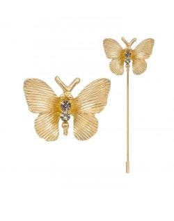 Alfiler mariposa dorado