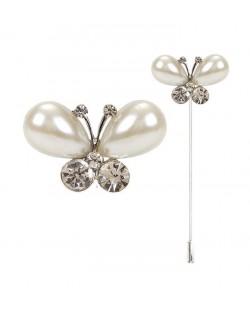 Alfiler mariposa perlas