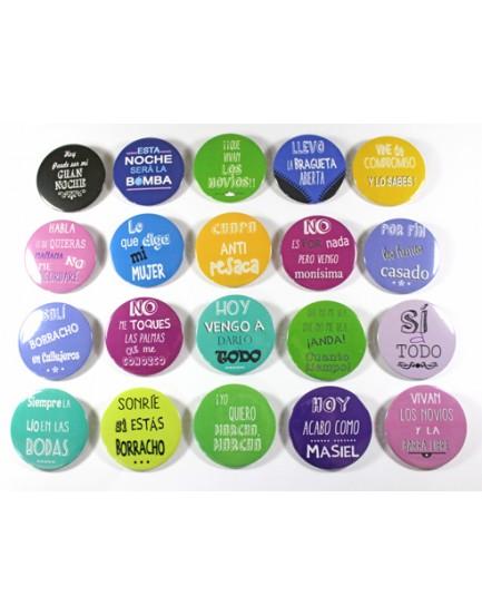 Detalle para Boda Pack Chapas Barra Libre -20 uds- Personalizado