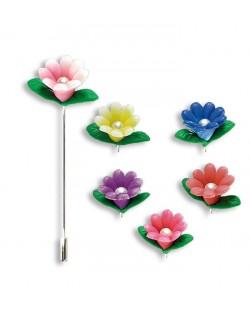 Alfiler flor perla
