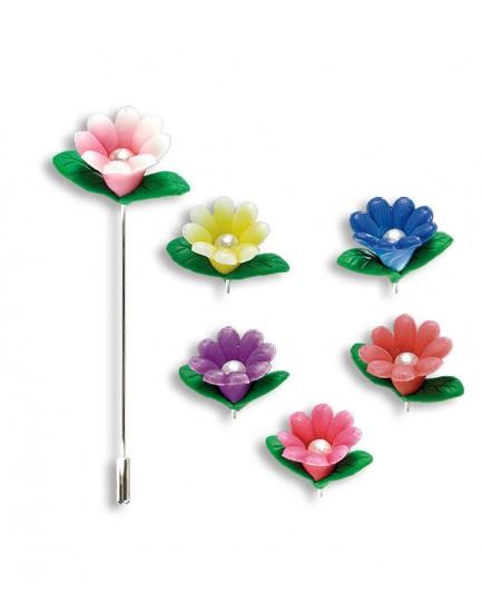 Alfiler flor perla color