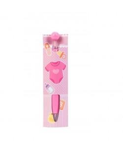 Boligrafo rosa con carton bebé