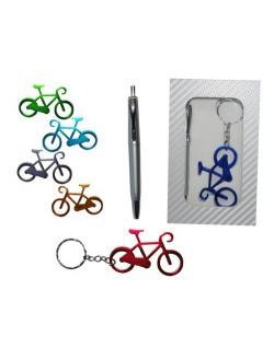 Estuche de llavero bicicleta y bolígrafo
