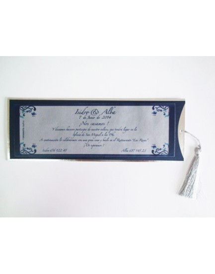 Invitación azul y plata