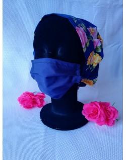 Gorros cocineros y sanitarios - Estampado flores fondo azul