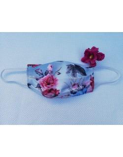 Mascarilla adulto - Estampado flores rosas fondo azul celeste