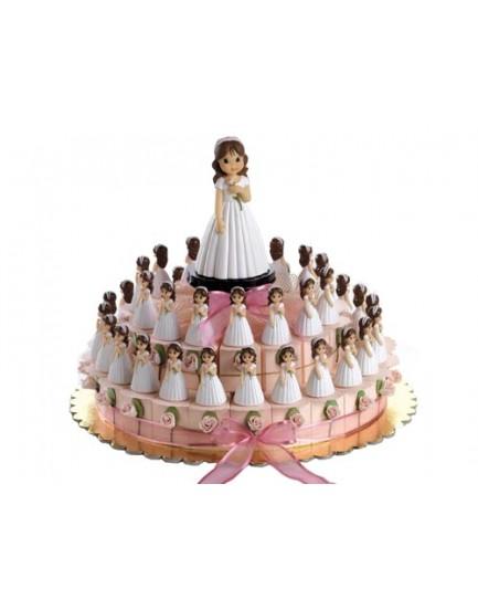 Montaje tarta niña lazo marfil -37 cajas-