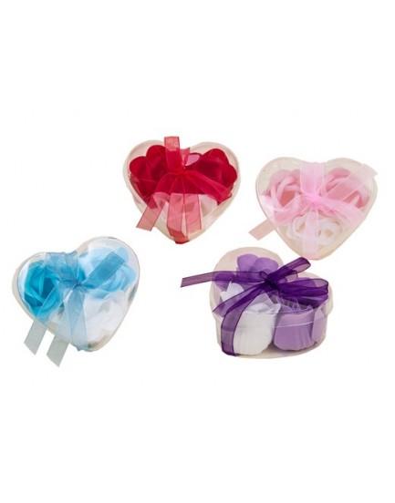 Jabón corazón rositas